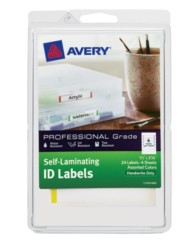 "Avery® Professional Grade Self-Laminating ID Labels 00748, Handwrite, 2/3"" x 3-3/8"", Assorted Colors, Pack of 24"
