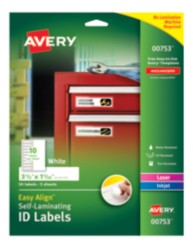 Packaging, Self-Laminating ID Labels, 00753