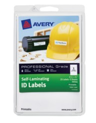 "Avery® Professional Grade Self-Laminating ID Labels 00760, Printable, 3-1/4"" x 3/4"", Pack of 25"