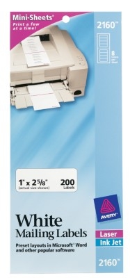 White Mini-Sheet Mailing Labels 2160