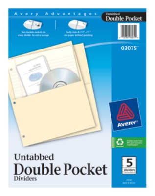 Untabbed Double Pocket Dividers 3075
