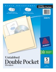 Avery® Untabbed Double Pocket Dividers 03075, Packaging Image