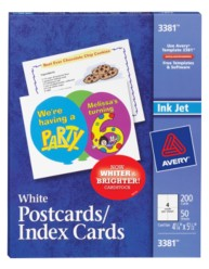 Avery® White Postcards/Index Cards 3381, Packaging Image