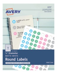 """Avery Matte White 3/4"""" Round Labels"""