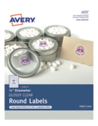 """Avery Clear Glossy 3/4"""" Round Labels"""