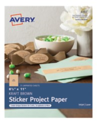 Avery Kraft Brown Sticker Project Paper