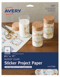 Avery Glossy Clear Full-Sheet Sticker Project Paper 4397, Packaging Image
