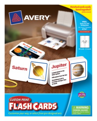 "Avery® Custom Print Flash Cards 3""x5"",Notched w/Assorted Rubber Bands,White,Laser/IJ,25shts,100pack 4752"