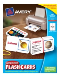 Avery® Custom Print Flash Cards  4752, with Notch and Band, Packaging Image