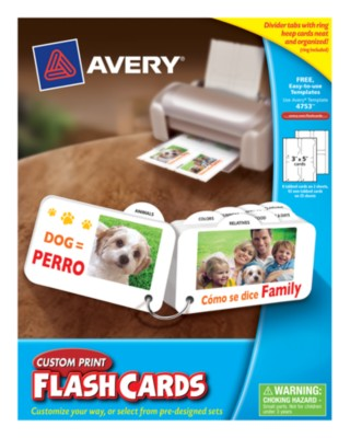 "Avery® Custom Print Flash Cards,3"" x 5"", Tabbed w/Ring, Laser/Ink Jet, White, 25 Sheets, 100 Cards 4753"