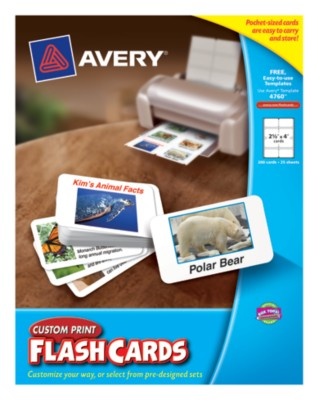 "Avery® Custom Print Flash Cards, 2-1/2""x4"", White,8 Per Sheet, 25 Sheets, 200 Cards, Laser/Ink Jet 4760"