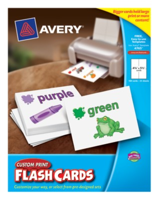 "Avery® Custom Print Flash Cards,4-1/4""x5-1/2"",White, 4 Per Sheet,25 Sheets,100 Cards,Laser/Ink Jet 4765"