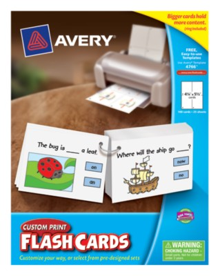 "Avery® Custom Print Flash Cards,4-1/4""x5-1/2"",Pre-Punched w/Ring,25 Sheets,100 Cards,Laser/Ink Jet 4766"