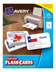 "Avery® Custom Print Flash Cards, 3"" x 5"", Packaging Image"