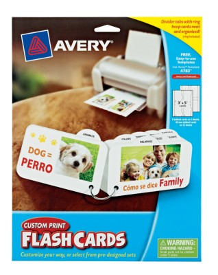"Avery® Custom Print Flash Cards,3""x5"", Tabbed w/Ring, White, 14 Sheets, 56 Per Pack, Laser/InkJet 4783"