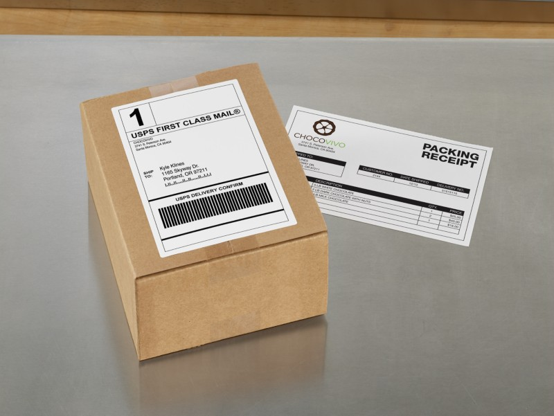 Shipping Label with Paper Receipt