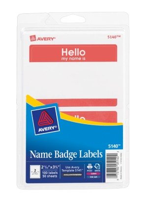 Self Adhesive Removable Name Badge Labels Print Write 5140