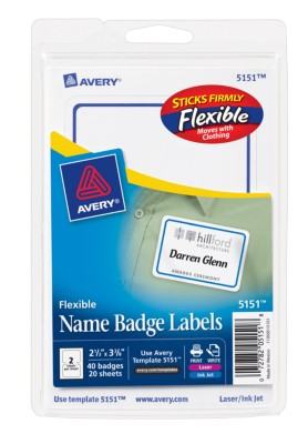 Self Adhesive Flexible Name Badge Labels Print Write 5151