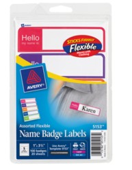 Avery® Flexible Name Badge Labels 5153, Packaging Image