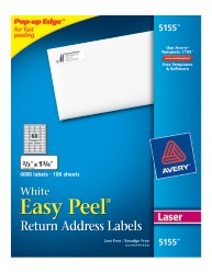 Avery Easy Peel White Return Address Labels 5155 Packaging Image