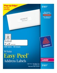 Avery Easy Peel White Address Labels 5161 Packaging Image