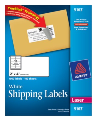 White Shipping Labels 5163