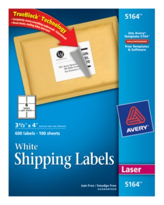 White Shipping Labels 5164