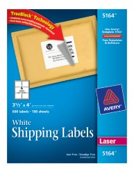 Avery White Shipping Labels 5164 Packaging Image