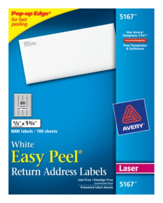 Easy Peel White Mailing Labels 5167