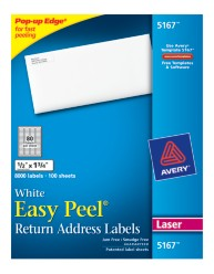 Avery® Easy Peel® White Return Address Labels for Laser Printers 5167, Packaging Image