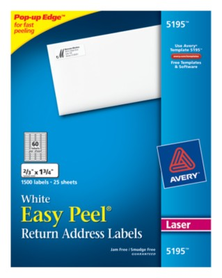 Easy Peel White Mailing Labels 5195