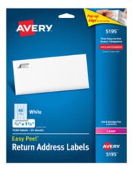 Avery Easy Peel White Return Address Labels 5195 Packaging Image
