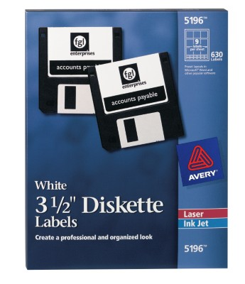 "Avery 3-1/2"" Diskette Labels 5196"
