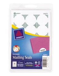 avery template 5247 - print or write mailing seals white