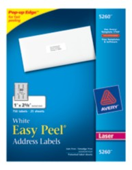 Avery Easy Peel White Address Labels 5260 Packaging Image