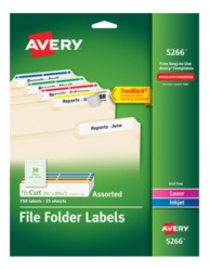 avery file folder labels 5266 package image - Avery Colored Labels