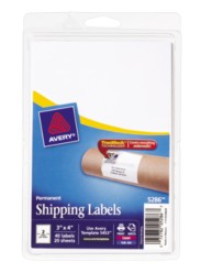 "Avery® Permanent Shipping Labels 05286, 3"" x 4"", Packaging Image"