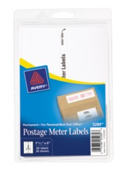 Avery® White Postage Meter Labels for Personal Post Office™ 5289, Packaging Image