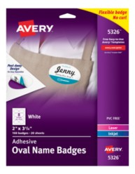 Avery®  White Adhesive Name Badges 5326, Packaging Image