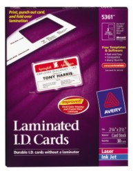 Avery Laminated ID Cards 5361 Packaging Photo