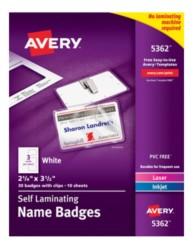 Avery Printable Self Laminating Name Badges