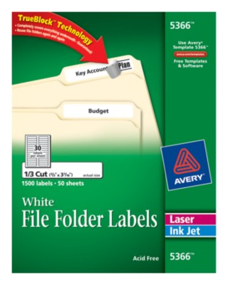 White Permanent FF labels, 1500 ct. w/Lit Sheet & Sample Sheets 5366