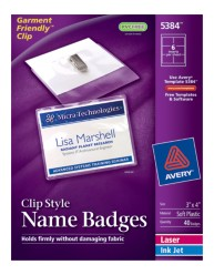 Avery Garment Friendly™ Clip Style Name Badges 5384 Packaging Image