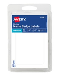 Avery White Adhesive Name Badges, Flexible, Clamshell Package