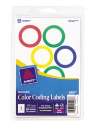 Avery Ringed Color Coding Labels 5407 Packaging Image