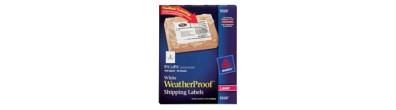 "Avery® White WeatherProof™ Labels for Laser Printers 5526, 5-1/2"" x 8-1/2"", Box of 100"