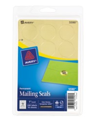 Avery® Printable Gold Metallic Mailing Seals 5590, Packaging Image