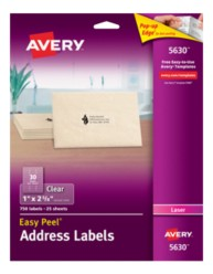 Avery Easy Peel Clear Address Labels 5630 Packaging Image