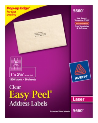 Easy Peel Clear Address Labels 5660