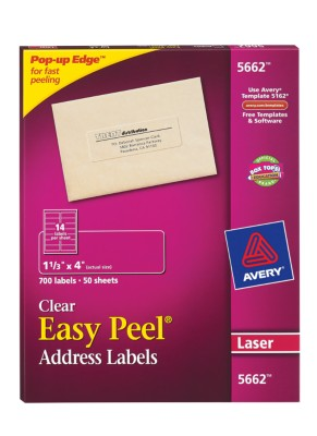 Easy Peel Clear Address Labels 5662
